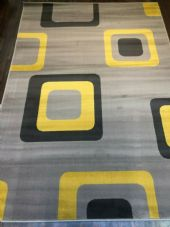 MODERN RUGS 8X5FT 160X230CM SILVER/LEMON GREAT QUALITY WOVEN BACK.